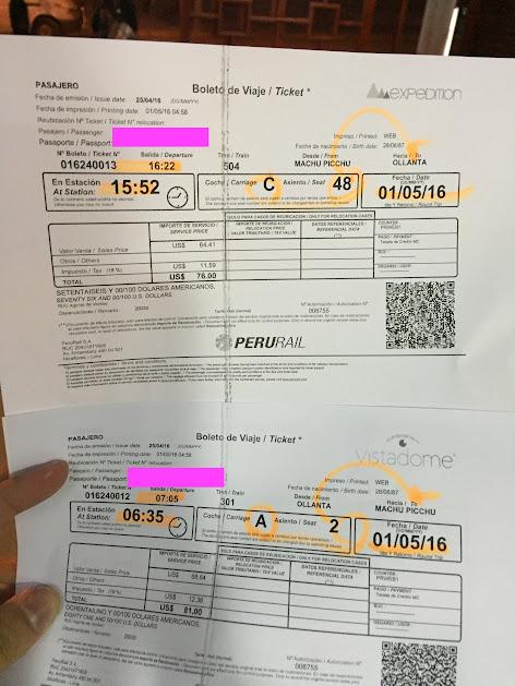 ペルーレイル チケット