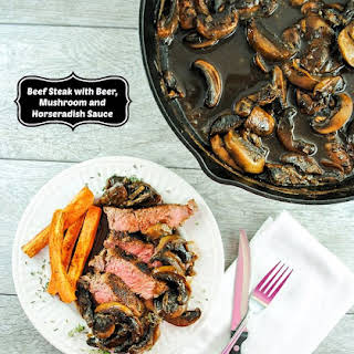 Savory Beef Steak with a Spicy Mushroom Horseradish Sauce.