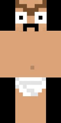 A grown man wearing a diaper