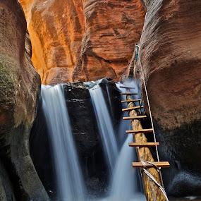 Kanarraville Falls by Jordan Wangsgard - Landscapes Waterscapes ( ladder, water, slot canyon, nature, utah, waterfall, rock, beauty, earthporn, hike )