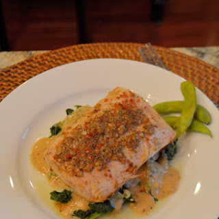 Garlic Peppercorn Crusted Mahimahi with Sherry Blue Cheese Cream Sauce.