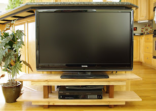 Photo: TV stand, made from spalted maple, hickory, and walnut. See next photo for details. (TV not included!)