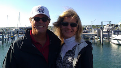 Photo: Lisa and I waiting for the ferry to Mackinac Island