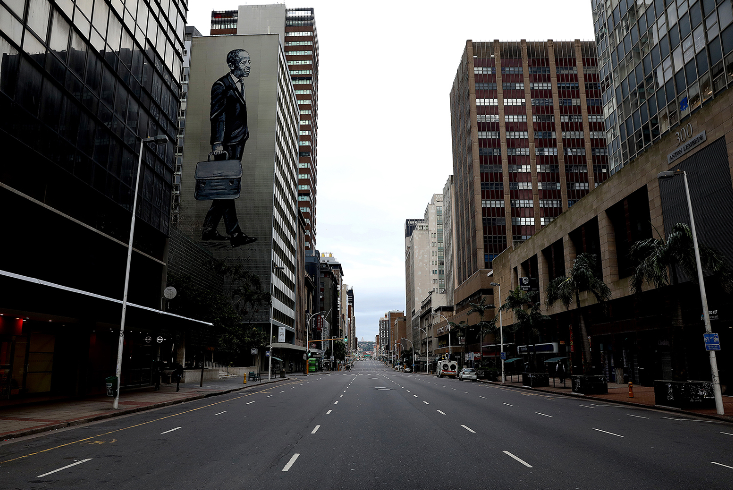 Anton Lembede Street in Durban on day one of the national lockdown.