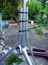 Photo: The joint for the homemade conduit tripod, awaiting drill holes for the bolts to hold it all together.