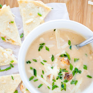 Roasted Cauliflower Soup with Cheese Quesadillas