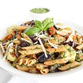 Fall Roasted Root Vegetable Pasta with Kale Pesto Recipe