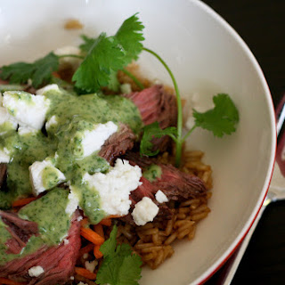 Brown Rice, Steak & Feta Bowl w/Tahini Cilantro Dressing