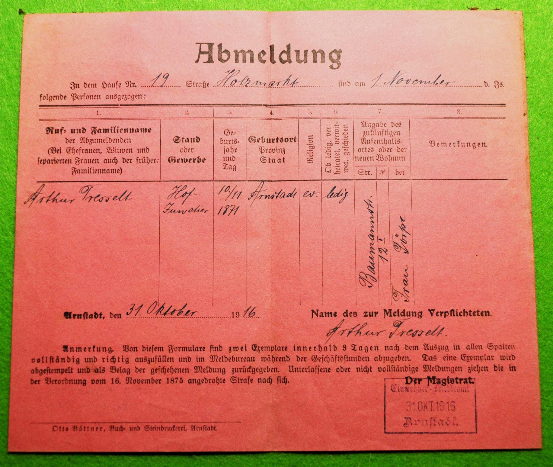 Meldebescheinigung, 1916, Arnstadt