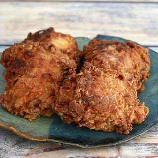 Crispy Oven Fried Chicken Thighs or Legs.