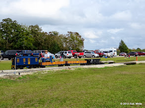 Photo: Engineer George Leventon moving his power to hook up to a passenger train after he ate lunch.       2013-1116 RPW