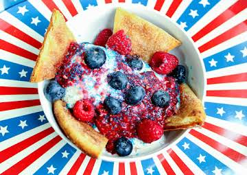 Patriotic Popping Sundaes with Cinnamon Naan