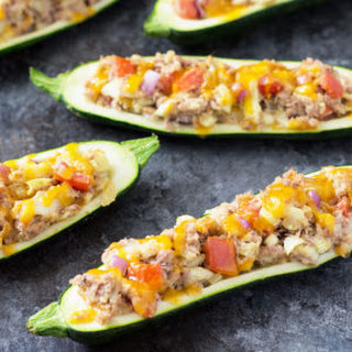 Tuna and Veggie Stuffed Zucchini Boats