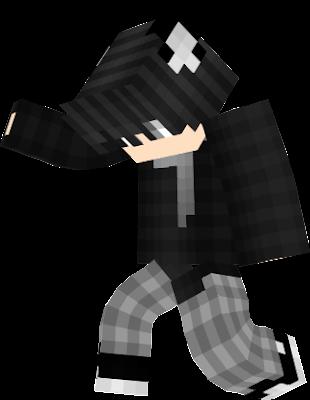 minecraft black wolf boy skin