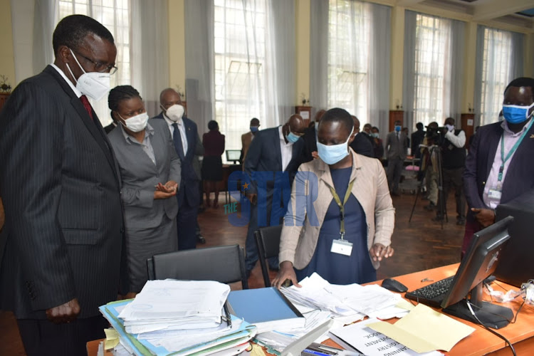 Chief Justice David Maraga at the Millimani law courts on July 2, 2020 to oversee the e-filing of Court Files a day after the launch.