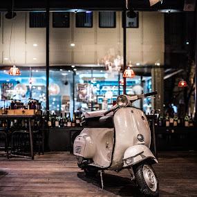 Vespa in a coffe shop by Mitja Kosi - Transportation Bicycles ( vespa bike )