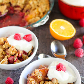 Healthier Raspberry Peach Breakfast Crisp