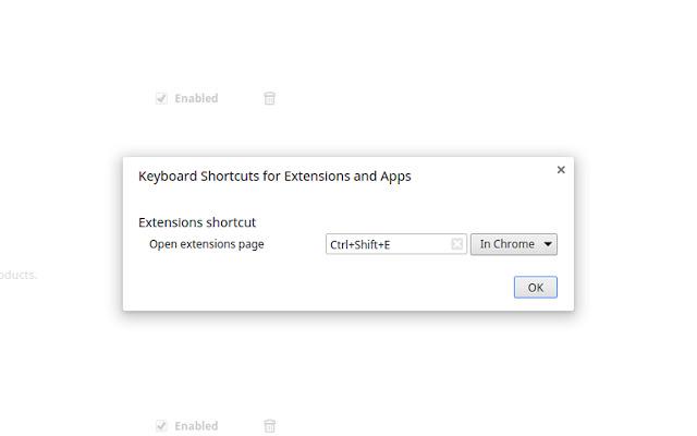 Extensions shortcut