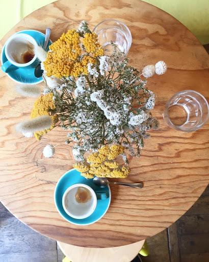 Lemon cake and cappuccino