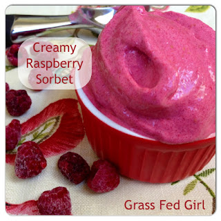 Easy Paleo Raspberry Sorbet.