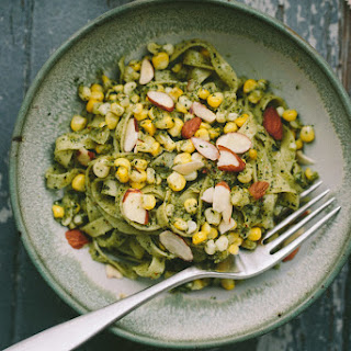 Linguine with Mint Pesto and Corn