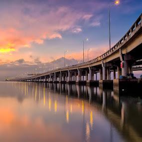 Sunrise at Penang Bridge, Malaysia by Adi Affendi - Landscapes Sunsets & Sunrises