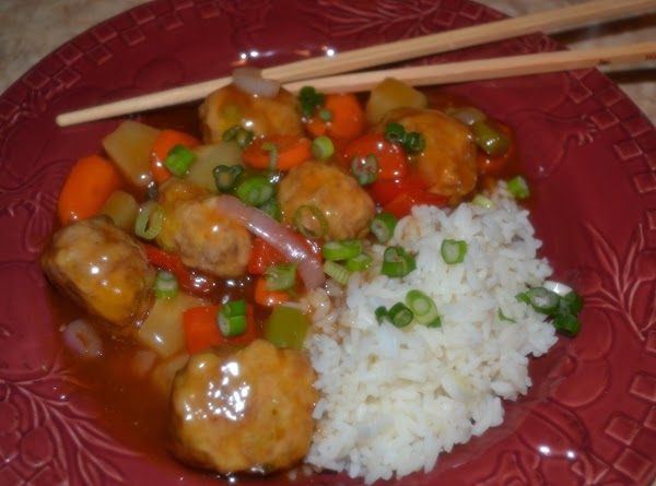 Sweet And Sour Asian Meatballs Over Rice Recipe