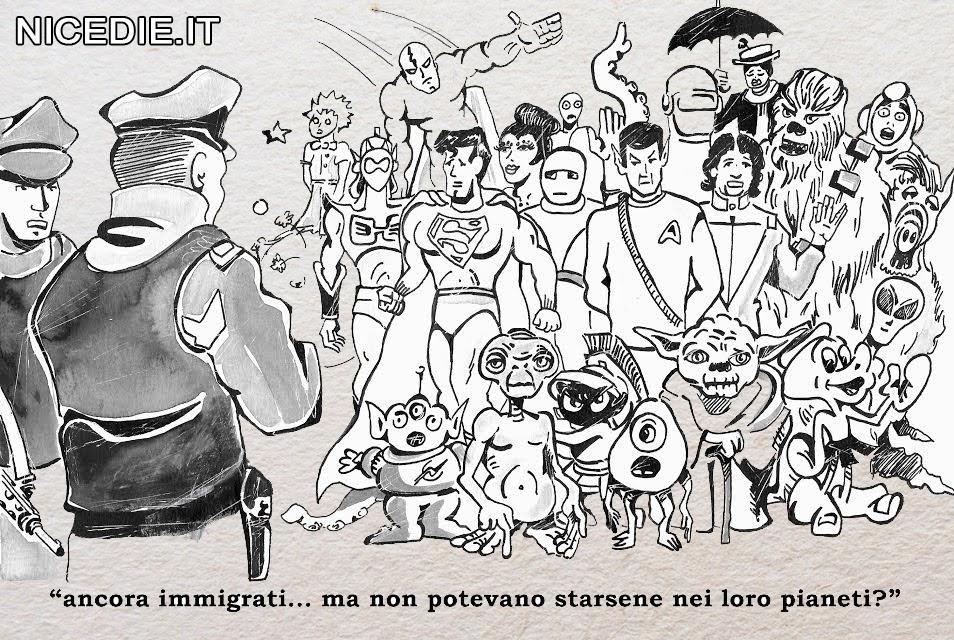 la polizia ferma uno sbarco di migranti, sono tutti supereroi dei film, dei fumetti, il poliziotto dice: ma non potevano starsene nei loro pianeti?