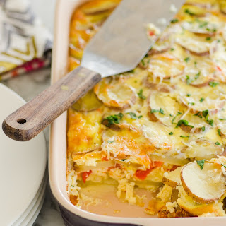 Potato Breakfast Gratin with Red Peppers & Parmesan.