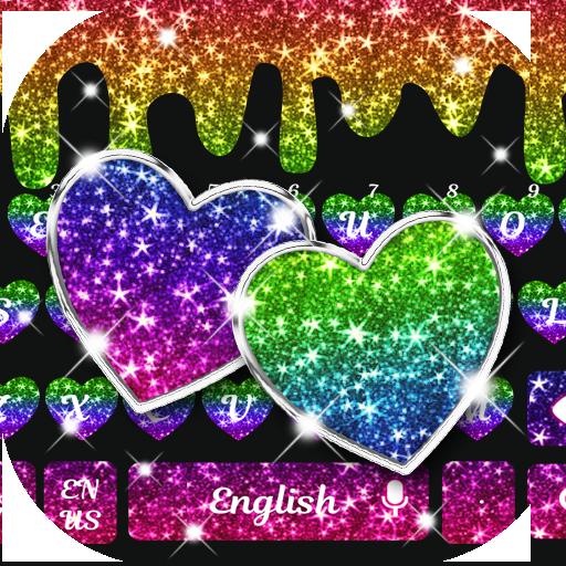 Colorful Glitter Heart keyboard