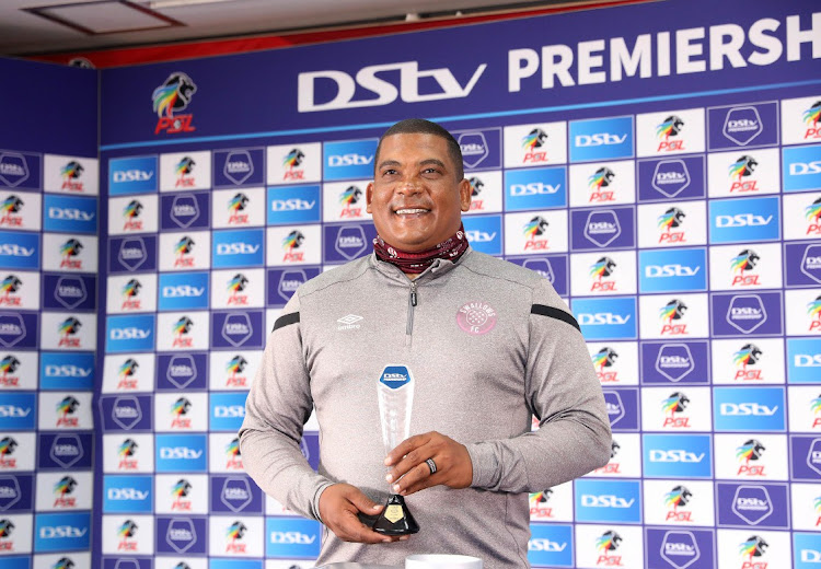 Brandon Truter (coach) of Moroka Swallows wins coach of the month during the DStv Premiership Monthly Awards press conference at PSL Offices in Johannesburg.