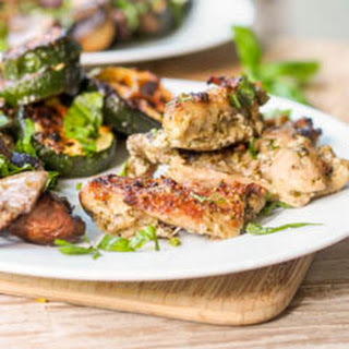Broiled Pesto Chicken Thighs with Mushrooms and Zucchini.
