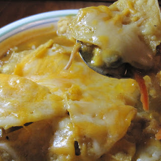Chicken Enchilada Soup with Black Beans and Corn.