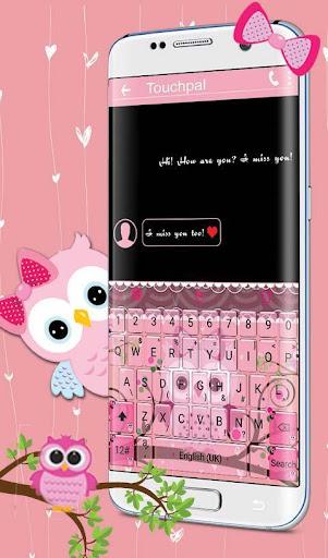 Pink Bow Owl Keyboard Theme 6.2.2 screenshots 2
