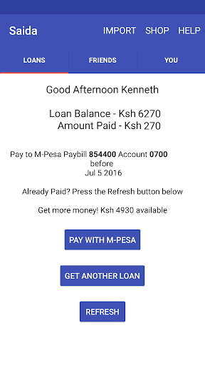 Saida - Loans to your M-Pesa screenshot 2