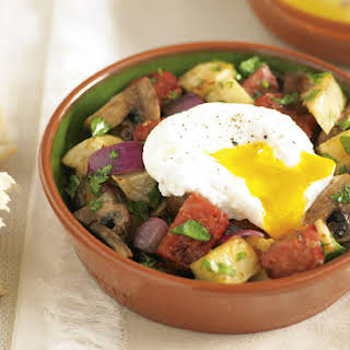 Chorizo Hash with Poached Eggs.