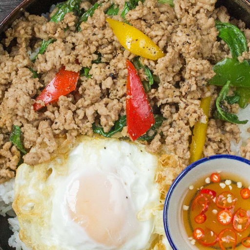 Pad Grapao with Fried Egg & Jasmine Rice