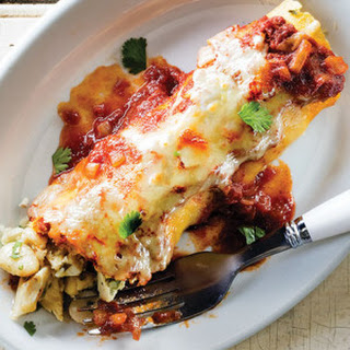Chile Chicken & White Bean Enchiladas with Red Sauce