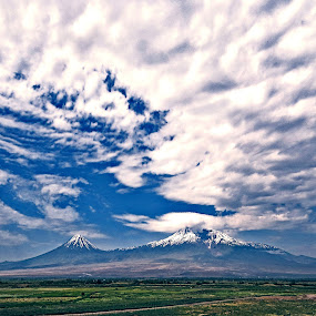 The Ararat by Anto Boyadjian - Landscapes Mountains & Hills ( clouds, mountains, mountain, mount, landscape )