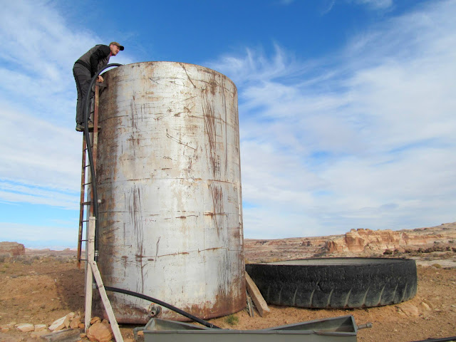 Chris getting a look into a water tank