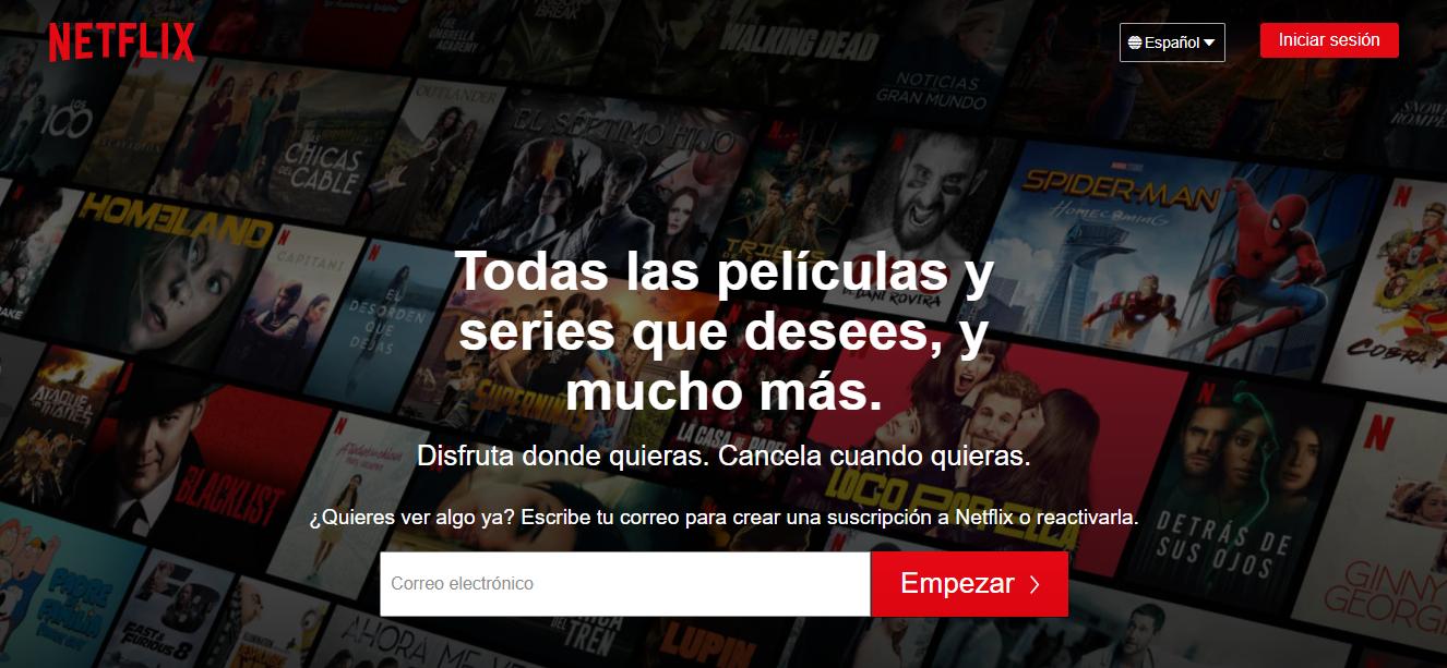 Netflix Landing page.