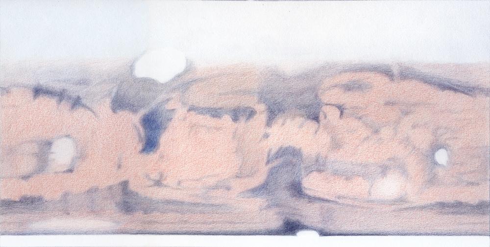 Photo: Planisphère de Mars, aspect de la planète fin mars - début avril 2012. Fait avec les dessins qui suivent, sur une feuille de format A3 et aux crayons de couleurs.