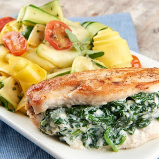 Spinach and Ricotta Stuffed Chicken Breasts With Zucchini and Yellow Squash Ribbons