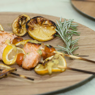 Salmon, Tomato, and Lemon Skewers with Rosemary and Dijon.