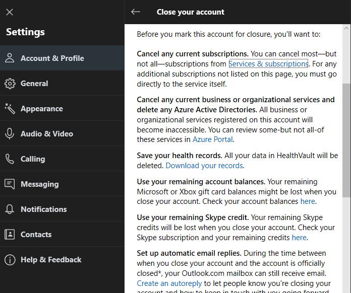 Skype Cancel subscription
