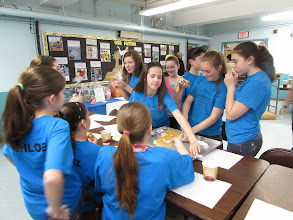 Photo: Kylee and the team eating the giant pancake.