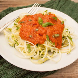 Zucchini Noodles with Raw Red Pepper Sauce.