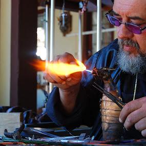 Fire Wrangler by Brittany Humphrey - News & Events Entertainment ( ren faire, art, glass, dragon, fire )