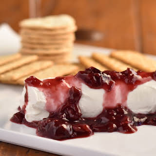Goat Cheese Appetizer with Bing Cherry Wine Reduction.