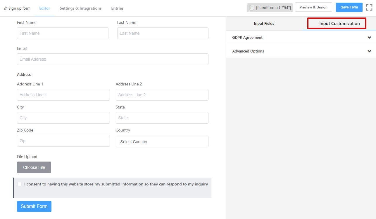 GDPR form examples, WP Fluent Forms